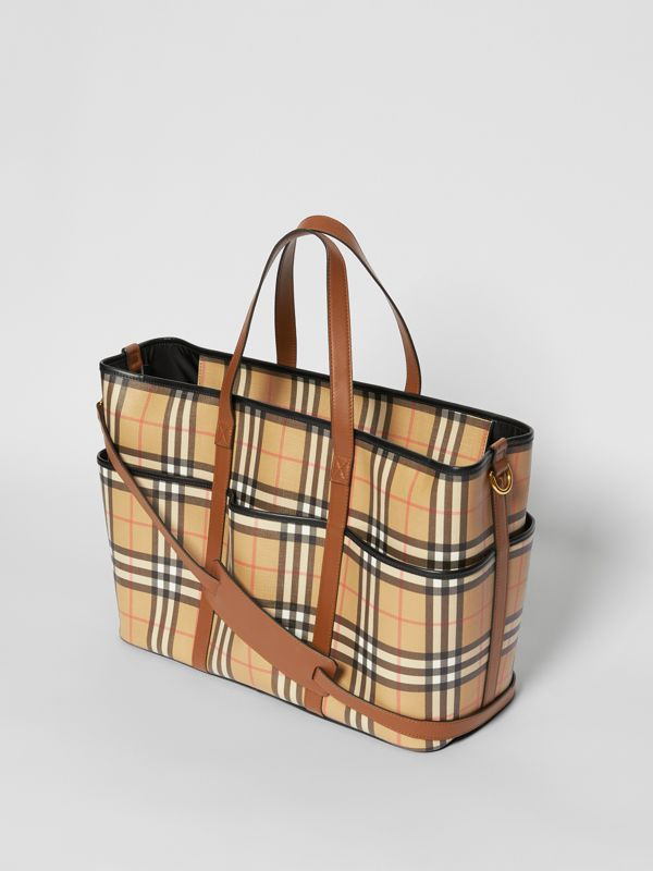 Vintage Check E-canvas Baby Changing Bag in Archive Beige - Children | Burberry United States - cell image 2