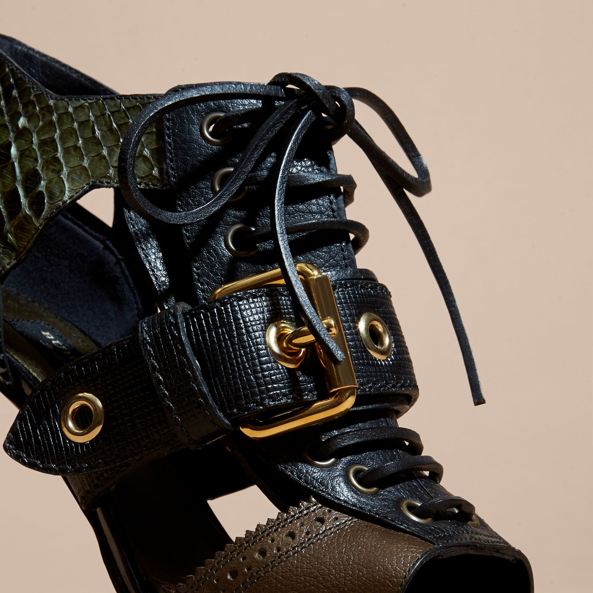 Buckle Detail Leather and Snakeskin Cut-out Ankle Boots Military Olive - gallery image 2