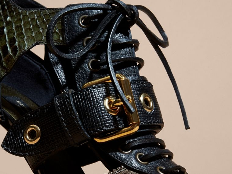 Buckle Detail Leather and Snakeskin Cut-out Ankle Boots in Military Olive - cell image 1