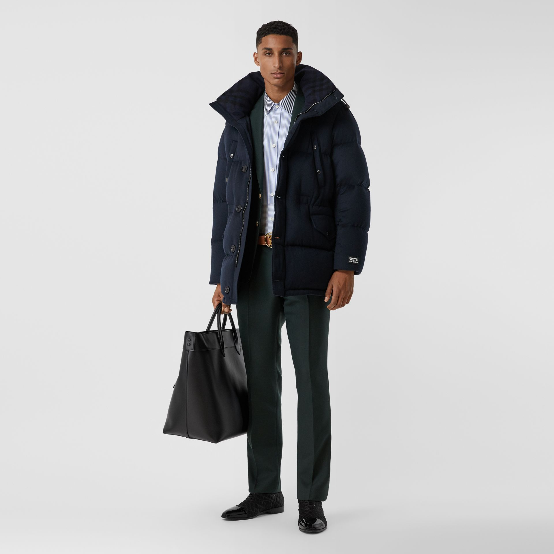 Cashmere Hooded Puffer Coat in Navy - Men | Burberry - gallery image 0
