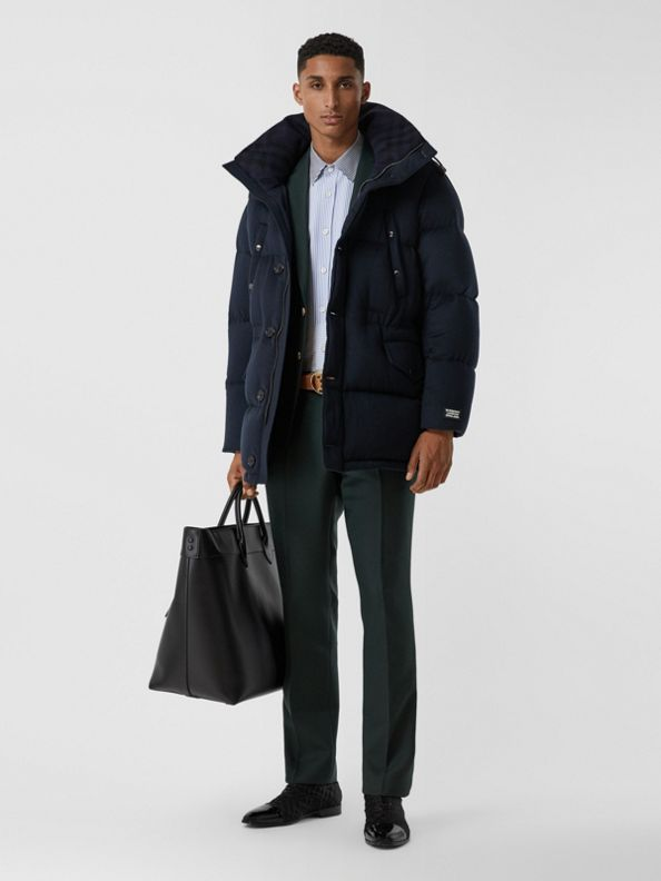 Cashmere Hooded Puffer Coat in Navy