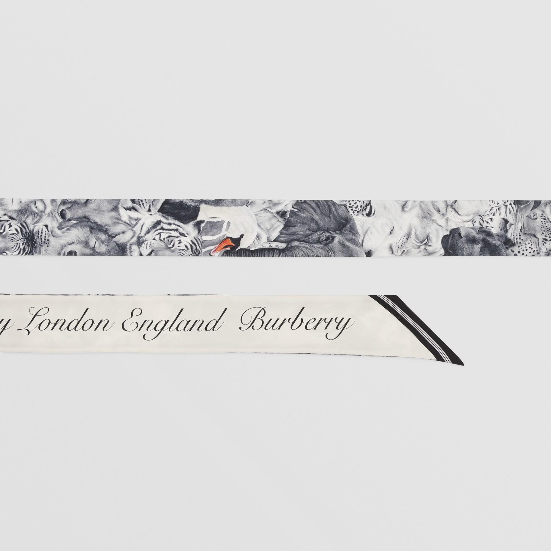 Animalia and Logo Print Silk Skinny Scarf in Vanilla | Burberry United States - gallery image 1