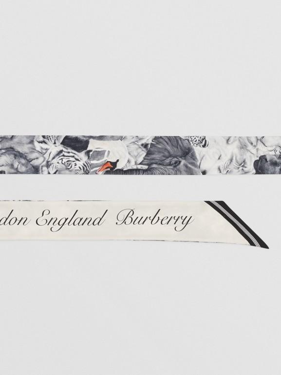 Animalia and Logo Print Silk Skinny Scarf in Vanilla | Burberry United States - cell image 1