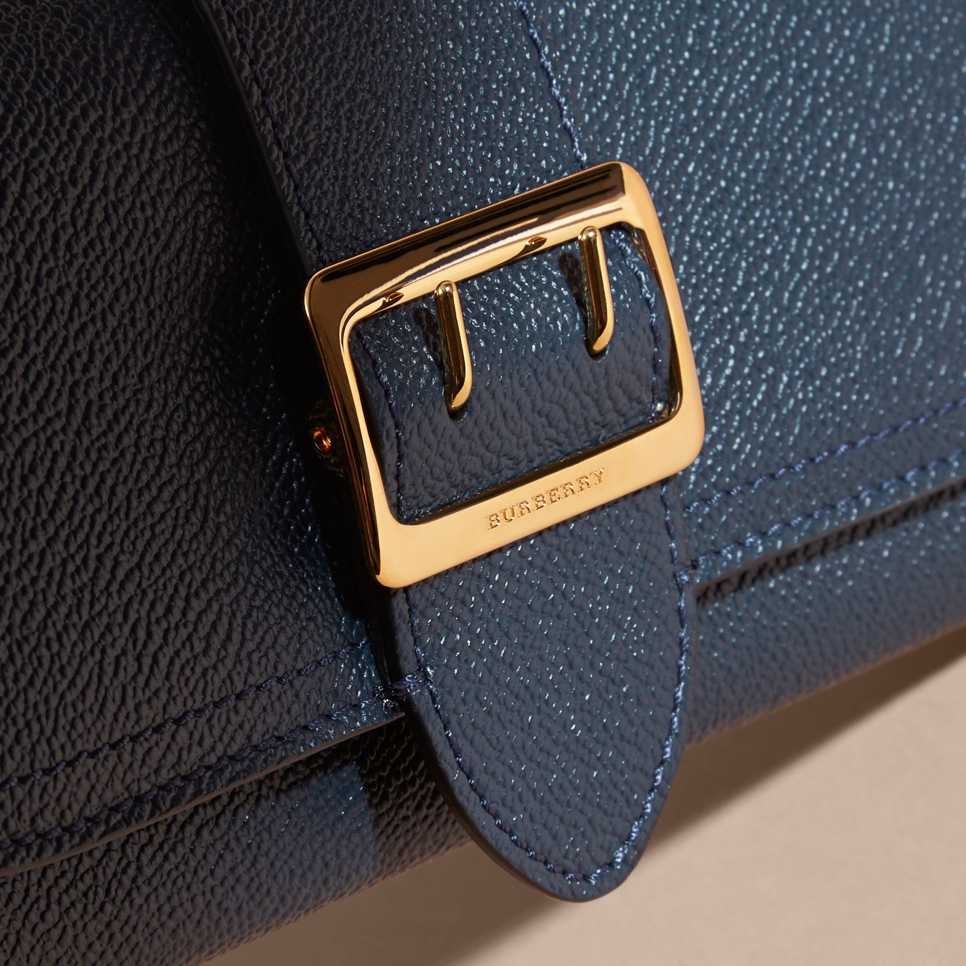 Textured Leather Continental Wallet in Blue Carbon - Women | Burberry - gallery image 4