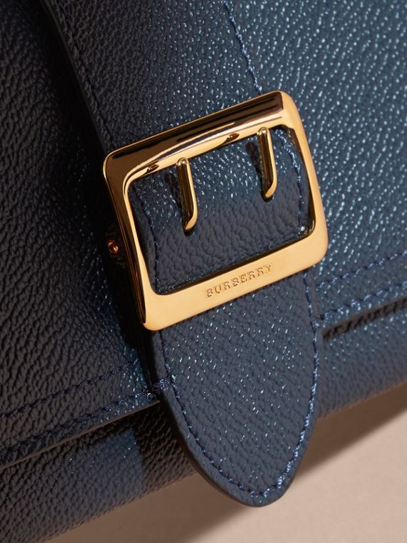 Textured Leather Continental Wallet in Blue Carbon - Women | Burberry - cell image 3