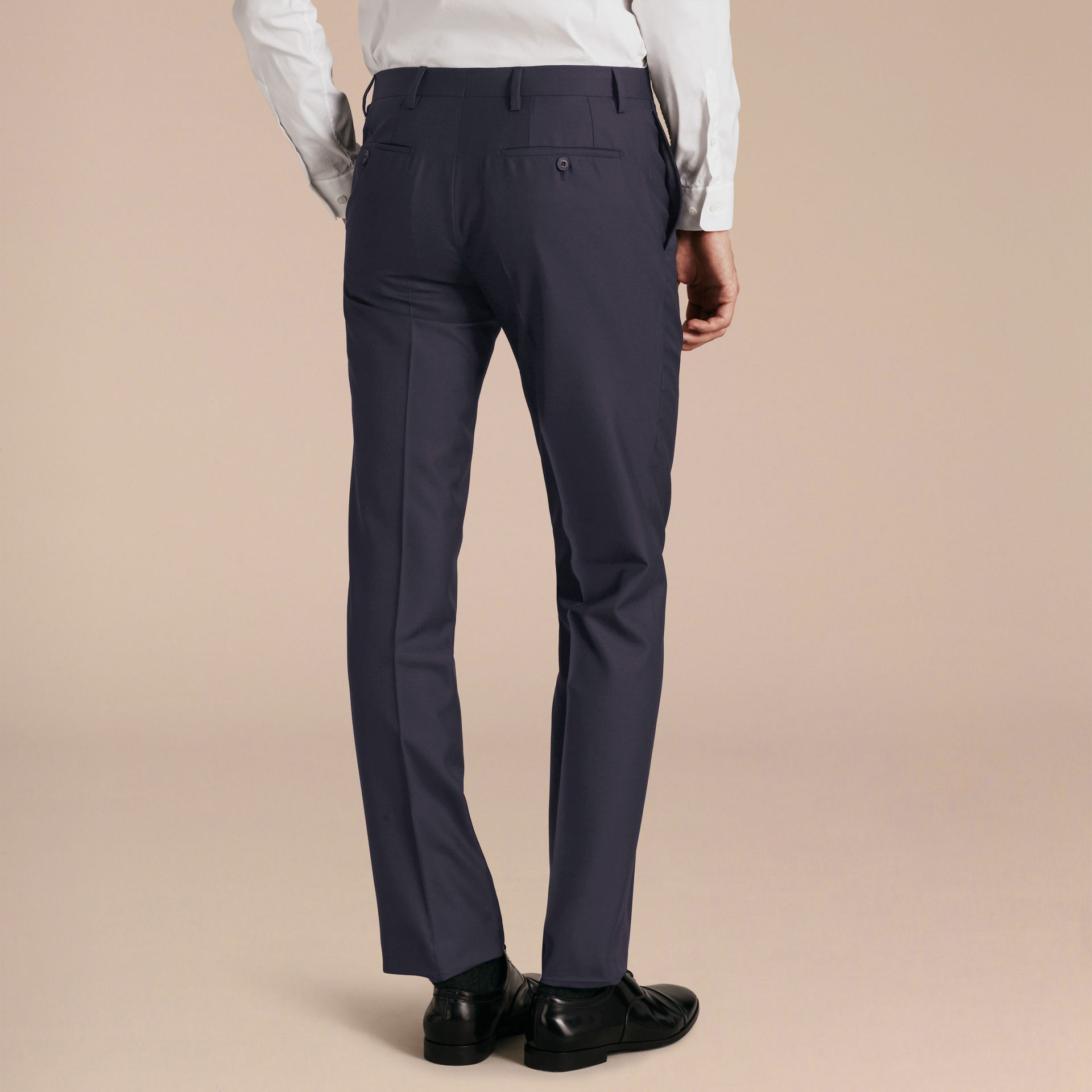 Modern Fit Wool Trousers in Navy - Men | Burberry - gallery image 3