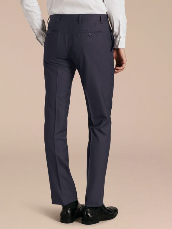Modern Fit Wool Trousers in Navy - Men | Burberry - cell image 2