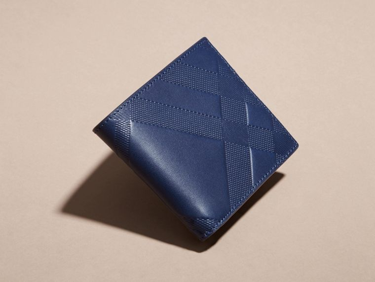 Lapis blue Check-embossed Leather Folding Wallet Lapis Blue - cell image 1
