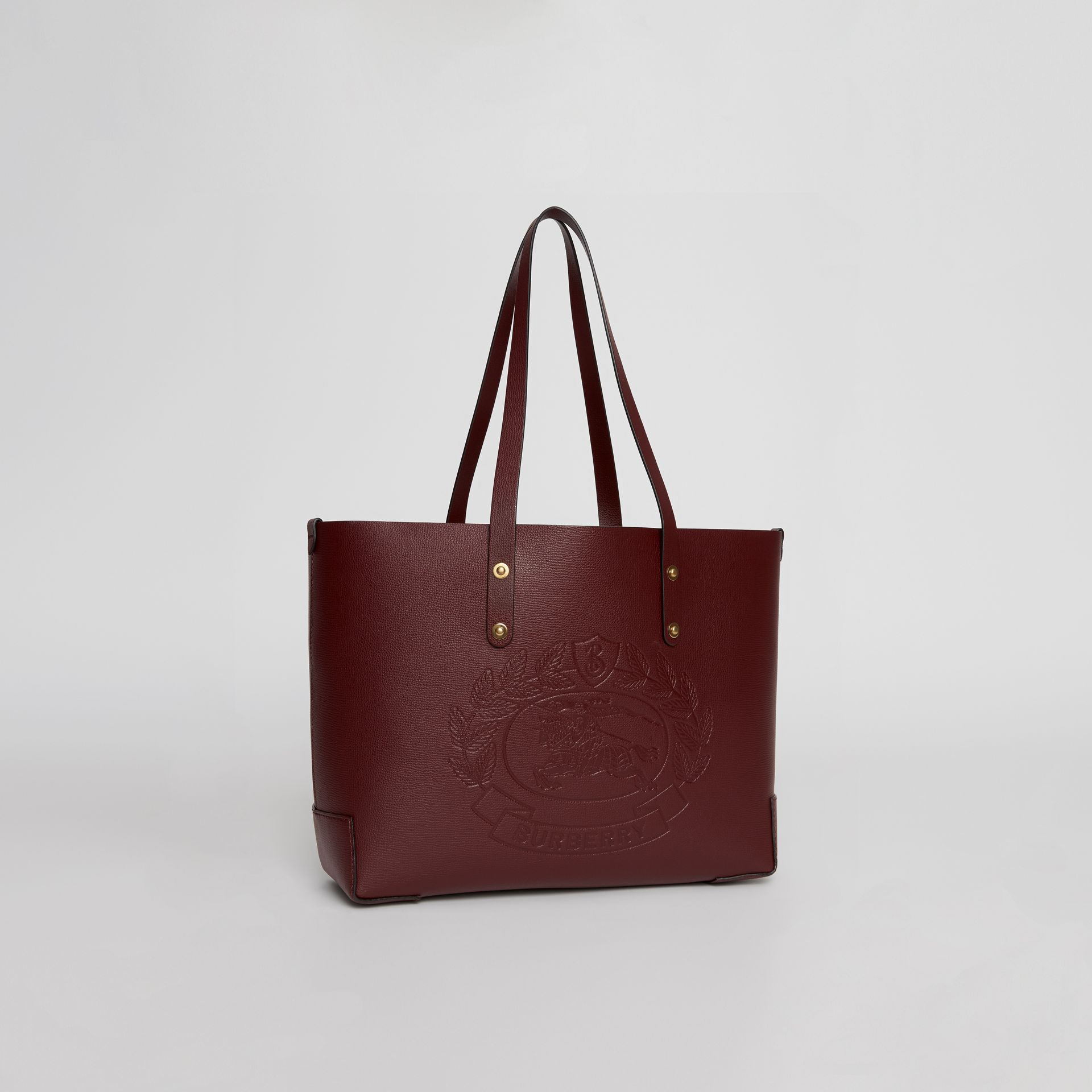 Small Embossed Crest Leather Tote in Burgundy | Burberry Australia - gallery image 7
