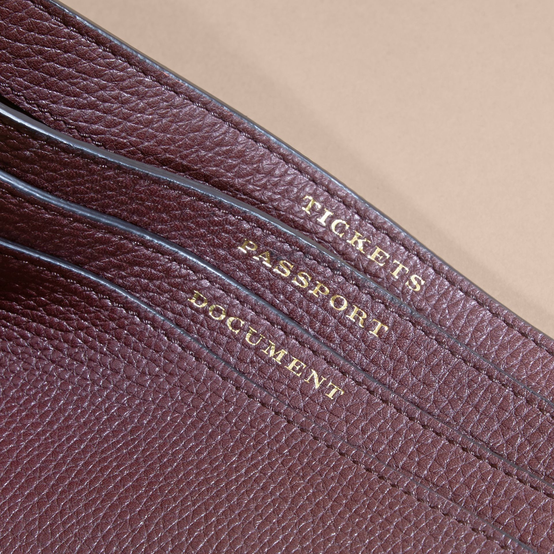 House Check and Grainy Leather Travel Wallet in Wine - gallery image 2