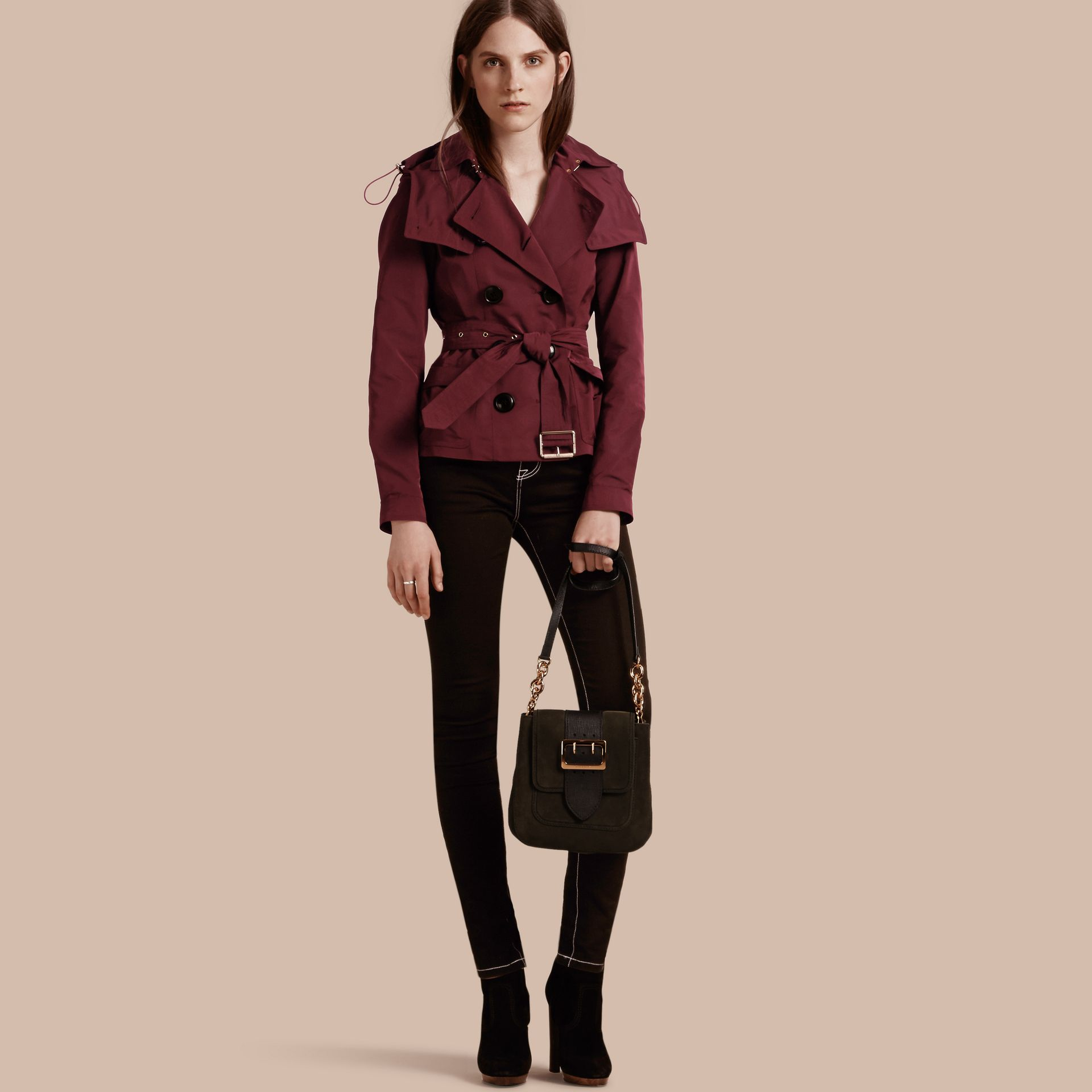 Deep claret Showerproof Taffeta Trench Jacket with Detachable Hood Deep Claret - gallery image 1