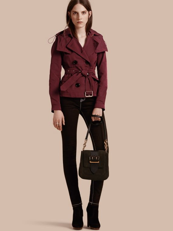 Showerproof Taffeta Trench Jacket with Detachable Hood Deep Claret