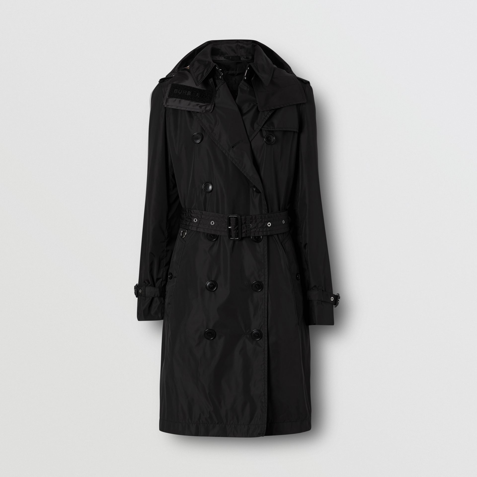 Detachable Hood ECONYL® Trench Coat in Black - Women | Burberry - gallery image 3
