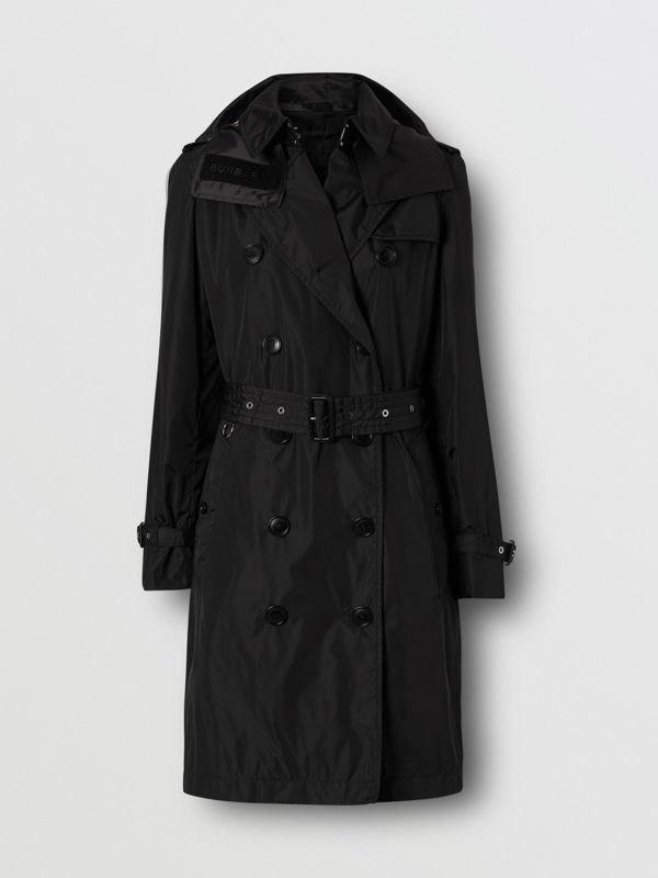 Detachable Hood ECONYL® Trench Coat in Black - Women | Burberry - cell image 3