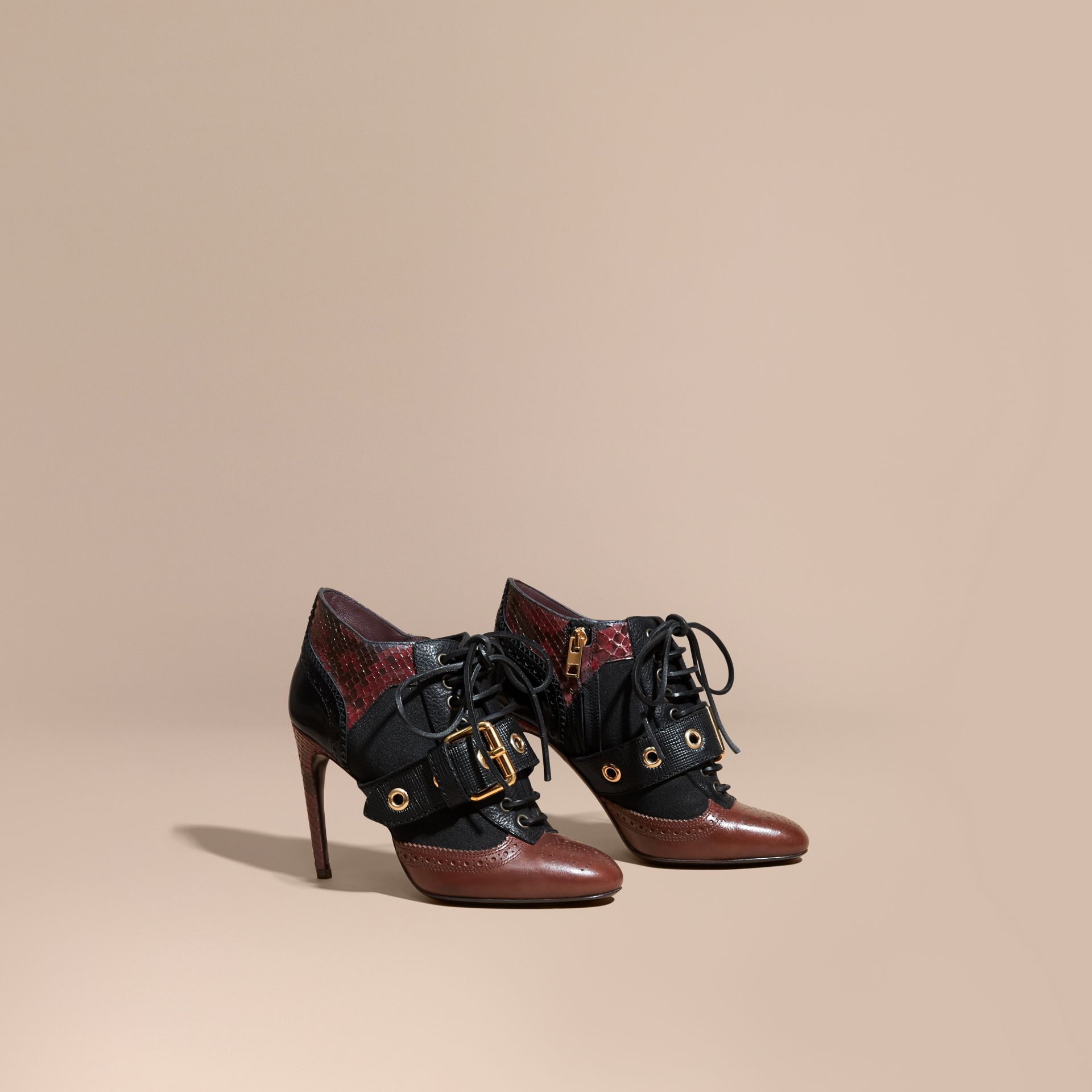Bordeaux Buckle Detail Leather and Snakeskin Ankle Boots Bordeaux - gallery image 1