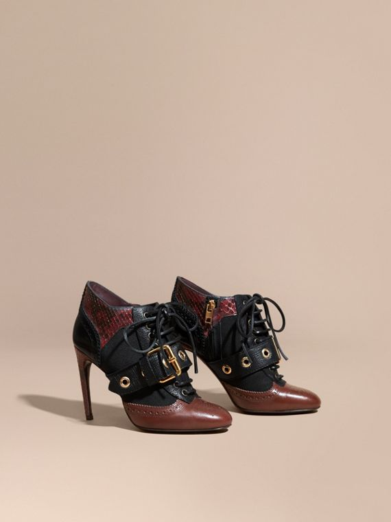 Buckle Detail Leather and Snakeskin Ankle Boots Bordeaux