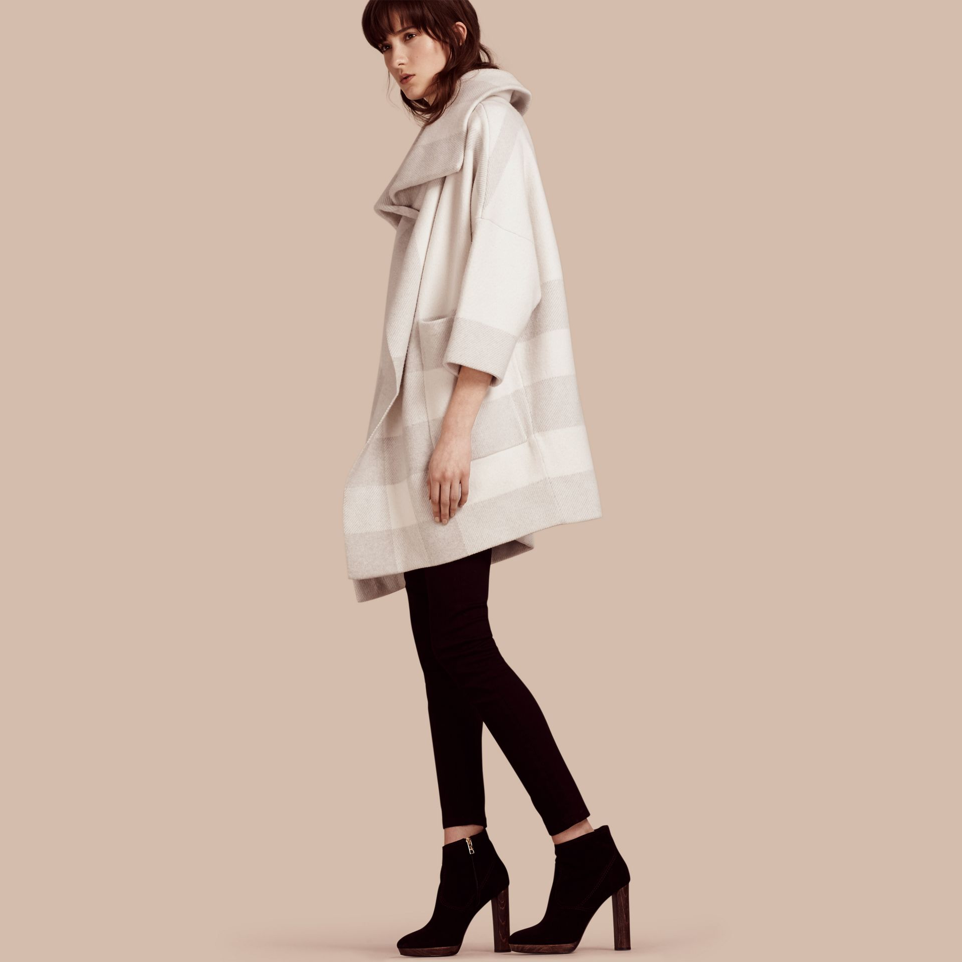 Natural white Oversize Stretch Wool Cashmere Wide Collar Coat Natural White - gallery image 1