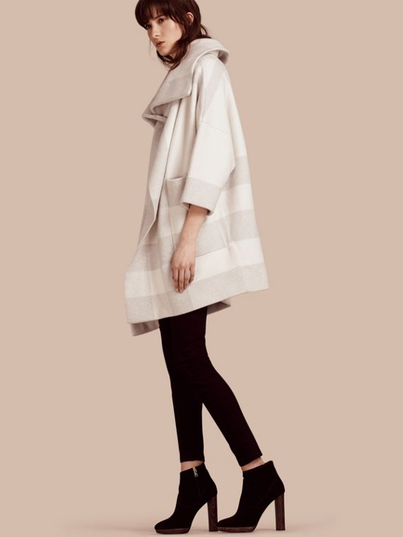 Oversize Stretch Wool Cashmere Wide Collar Coat Natural White