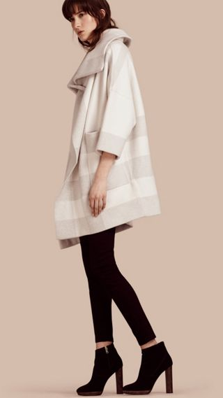 Oversize Stretch Wool Cashmere Wide Collar Coat