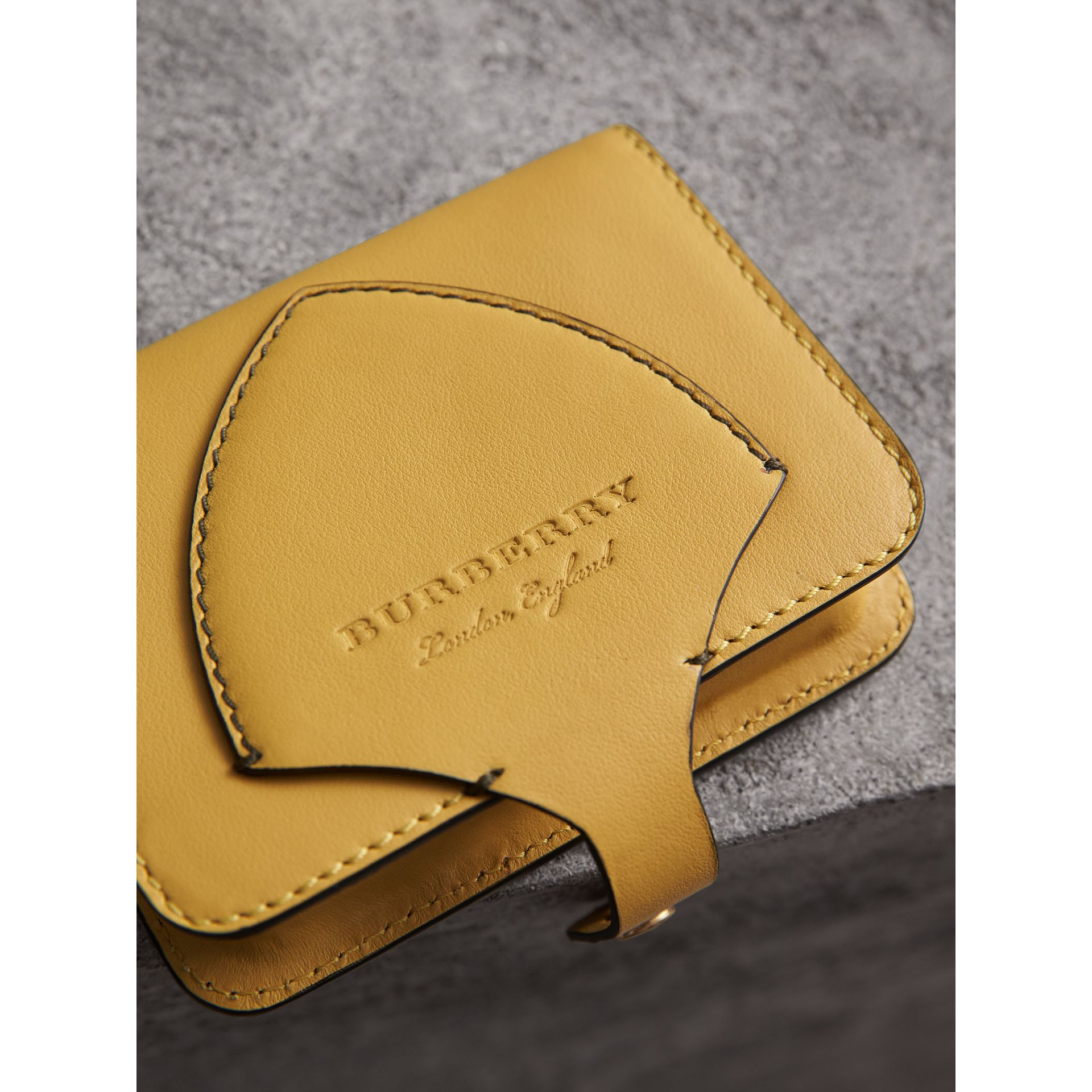Equestrian Shield Leather Card Case in Larch Yellow | Burberry - gallery image 1