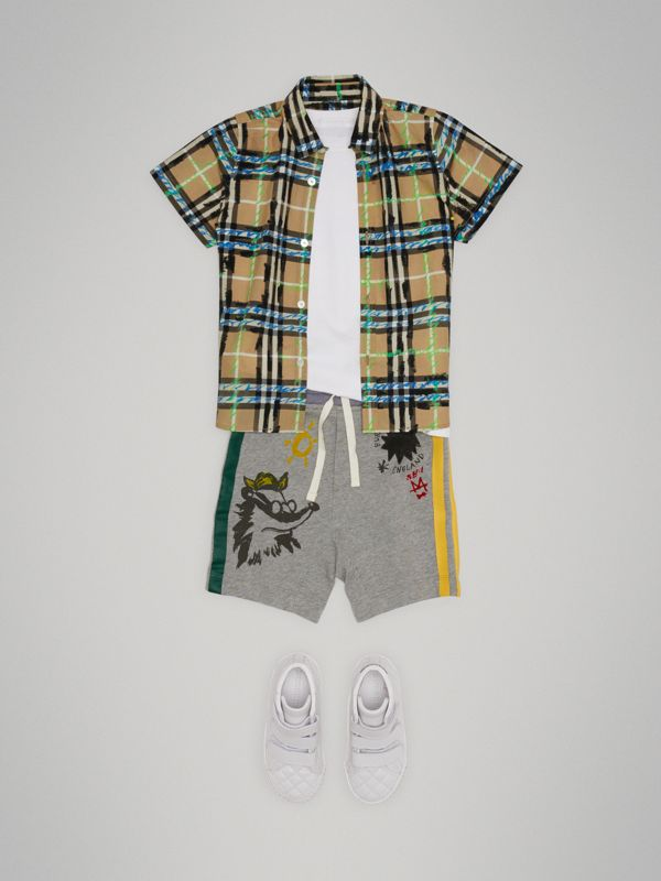 Sketch Print Cotton Drawcord Shorts in Grey Melange - Boy | Burberry Hong Kong - cell image 2