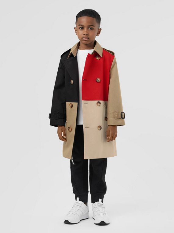 Colour Block Cotton Twill Trench Coat in Honey