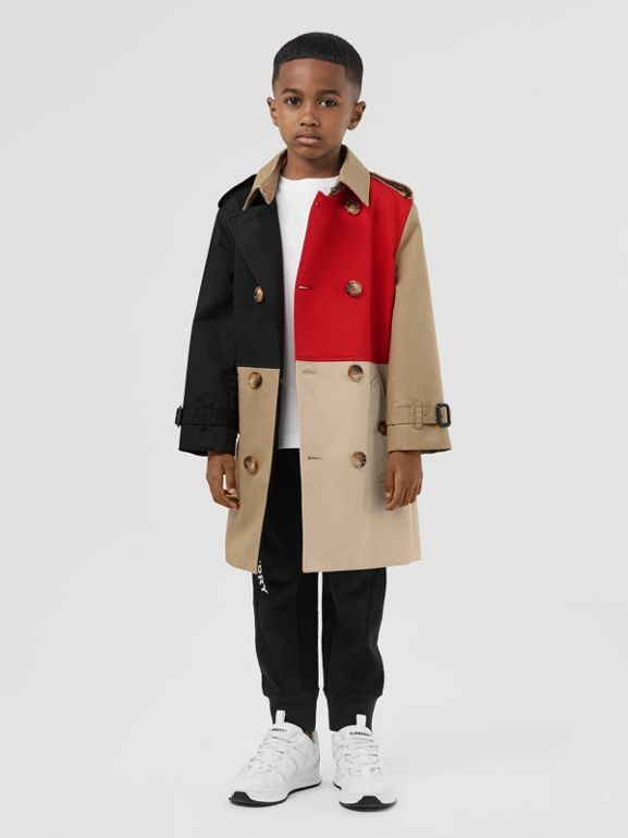 Colour Block Cotton Twill Trench Coat in Honey | Burberry - cell image 1