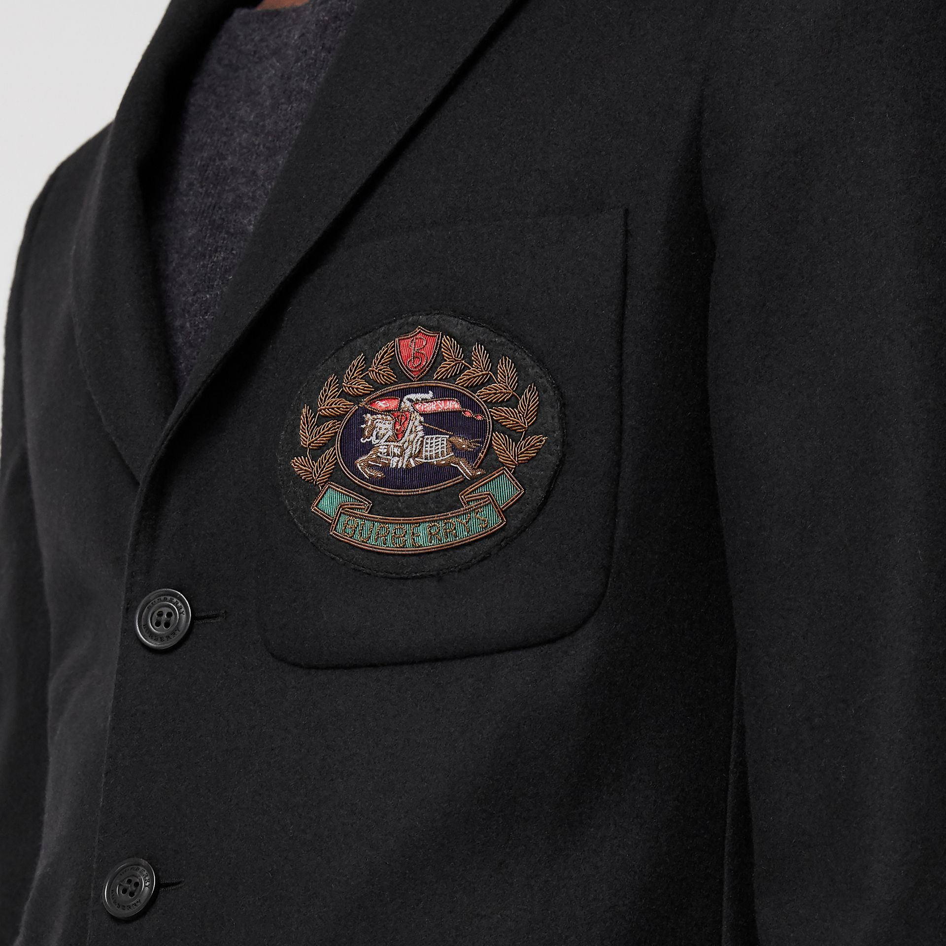 Slim Fit Embroidered Crest Wool Club Blazer in Black - Men | Burberry - gallery image 4