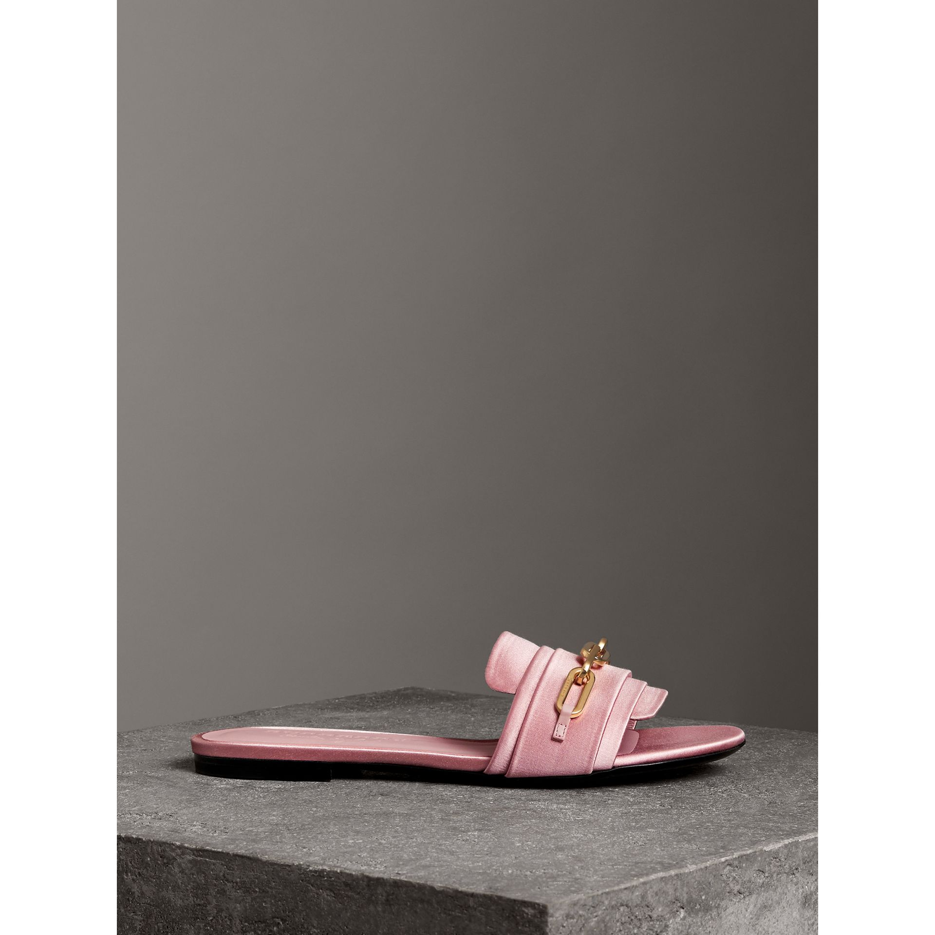 Link Detail Satin and Leather Slides in Light Pink Melange - Women | Burberry - gallery image 3