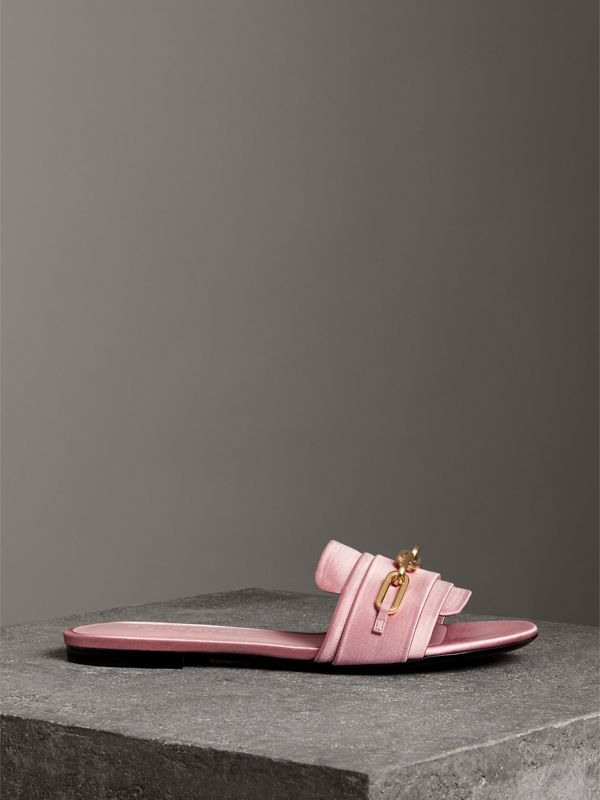 Link Detail Satin and Leather Slides in Light Pink Melange - Women | Burberry - cell image 3