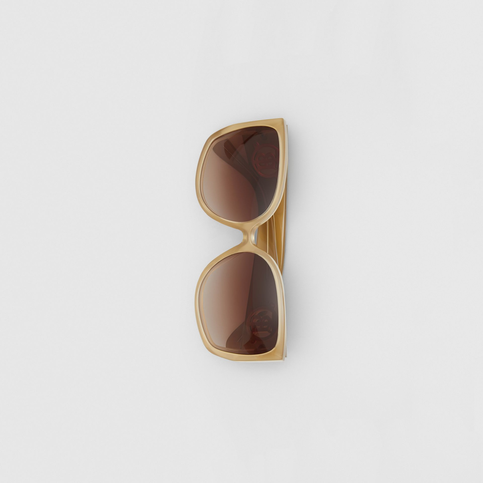 Oversized Butterfly Frame Sunglasses in Beige - Women | Burberry - gallery image 3