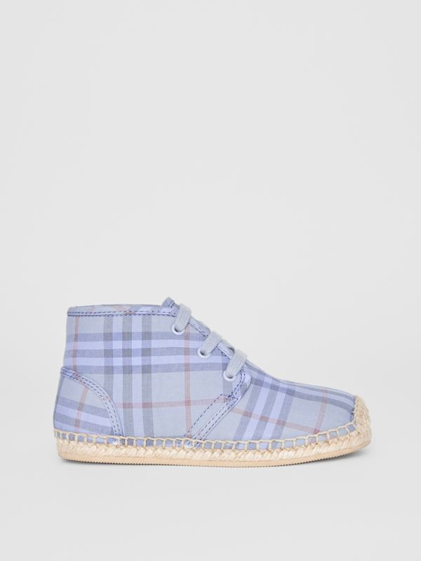 Check Espadrille Booties in Dusty Blue - Children | Burberry Canada - cell image 3