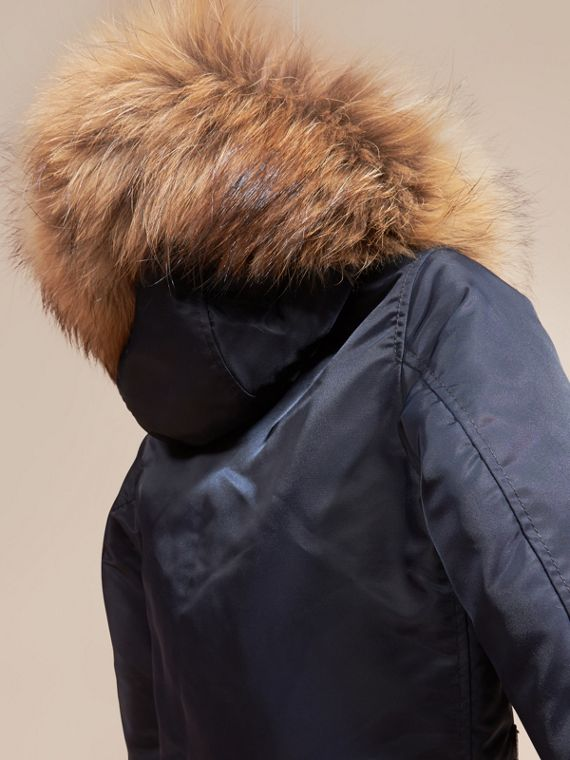 Navy Technical Twill Bomber Jacket with Fox Fur Hood - cell image 3