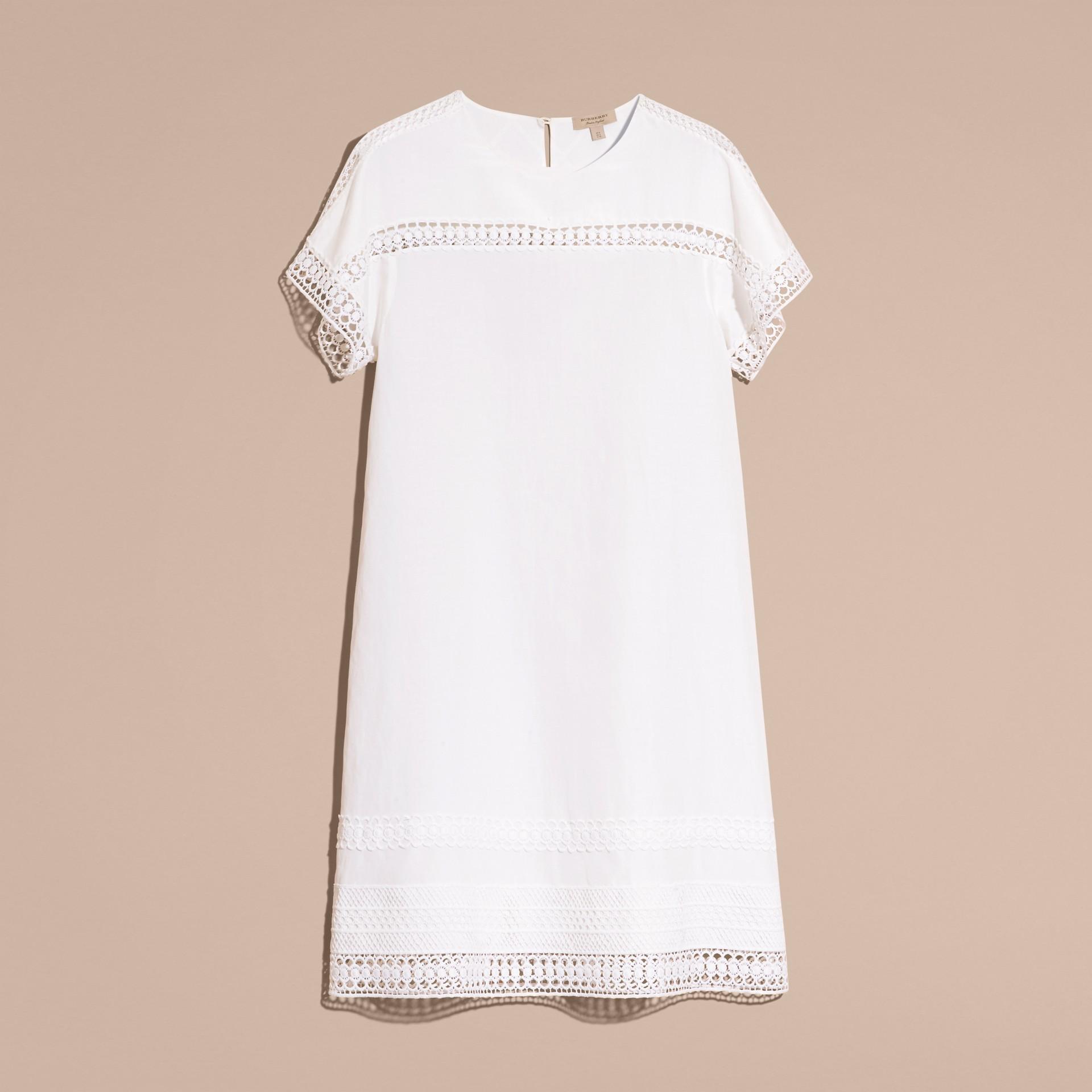 Macramé Lace Detail Silk Linen Cotton Dress - gallery image 4
