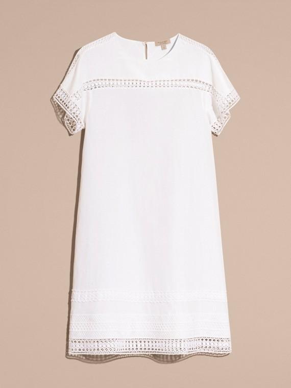 Macramé Lace Detail Silk Linen Cotton Dress - cell image 3