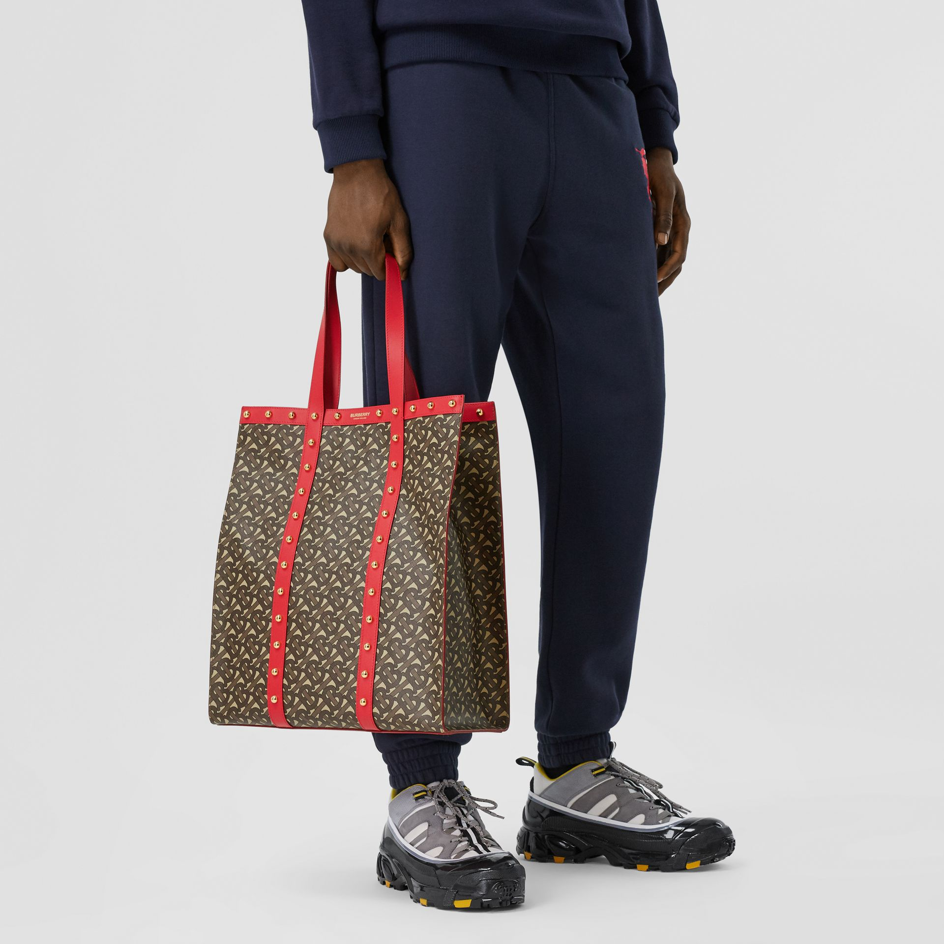 Monogram Print E-canvas Portrait Tote Bag in Bright Red - Women | Burberry - gallery image 3