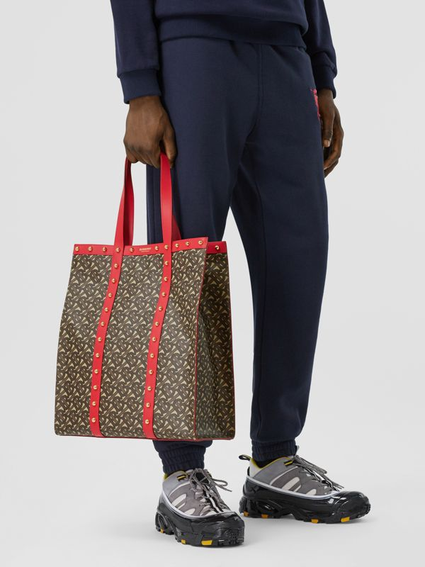 Monogram Print E-canvas Portrait Tote Bag in Bright Red - Women | Burberry - cell image 3