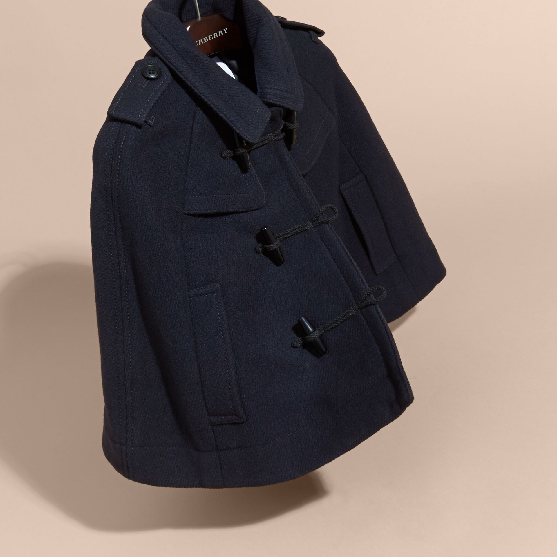 Navy Wool Cashmere Duffle Cape Coat - gallery image 3
