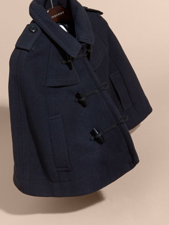 Navy Wool Cashmere Duffle Cape Coat - cell image 2
