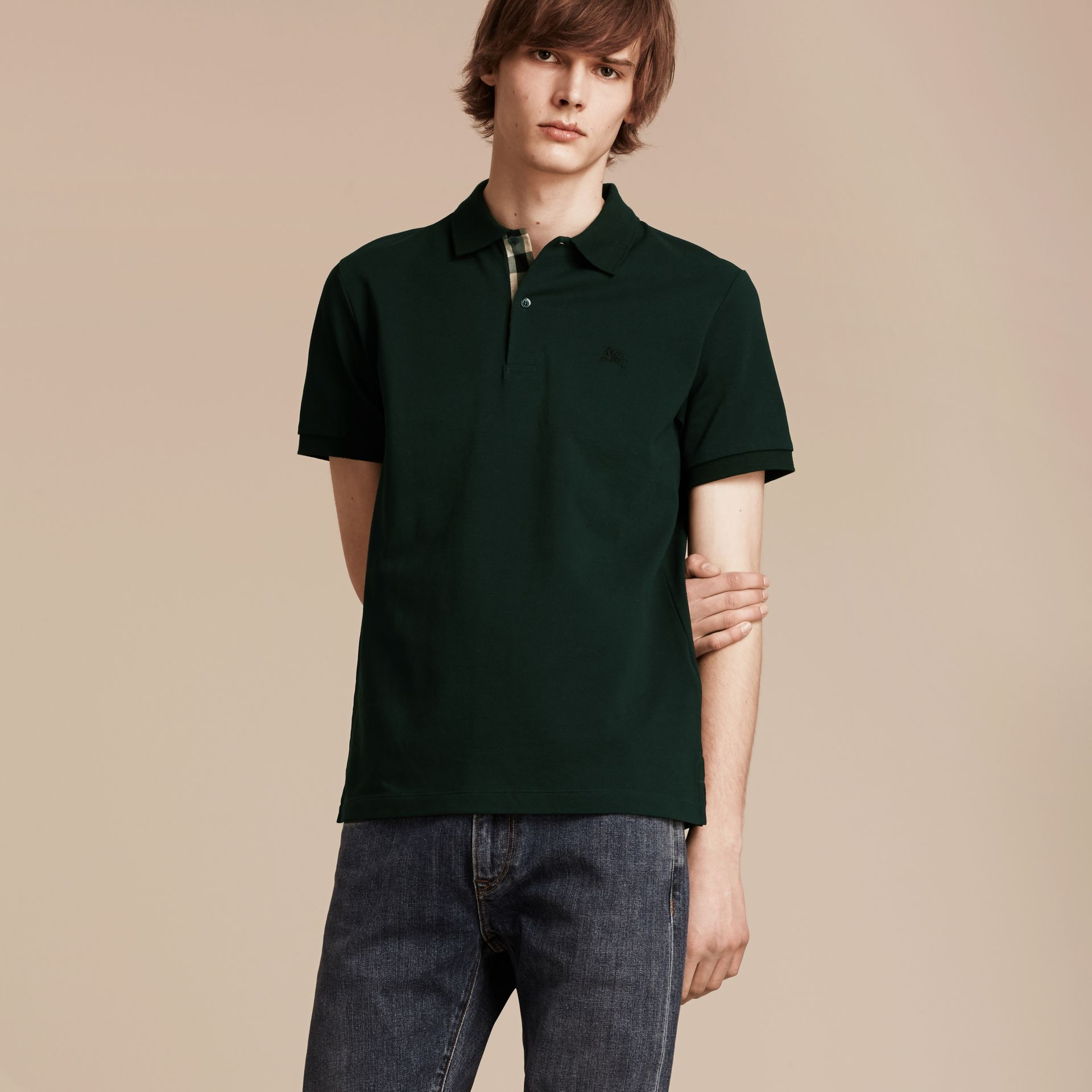 Check Placket Cotton Piqué Polo Shirt Racing Green - gallery image 6