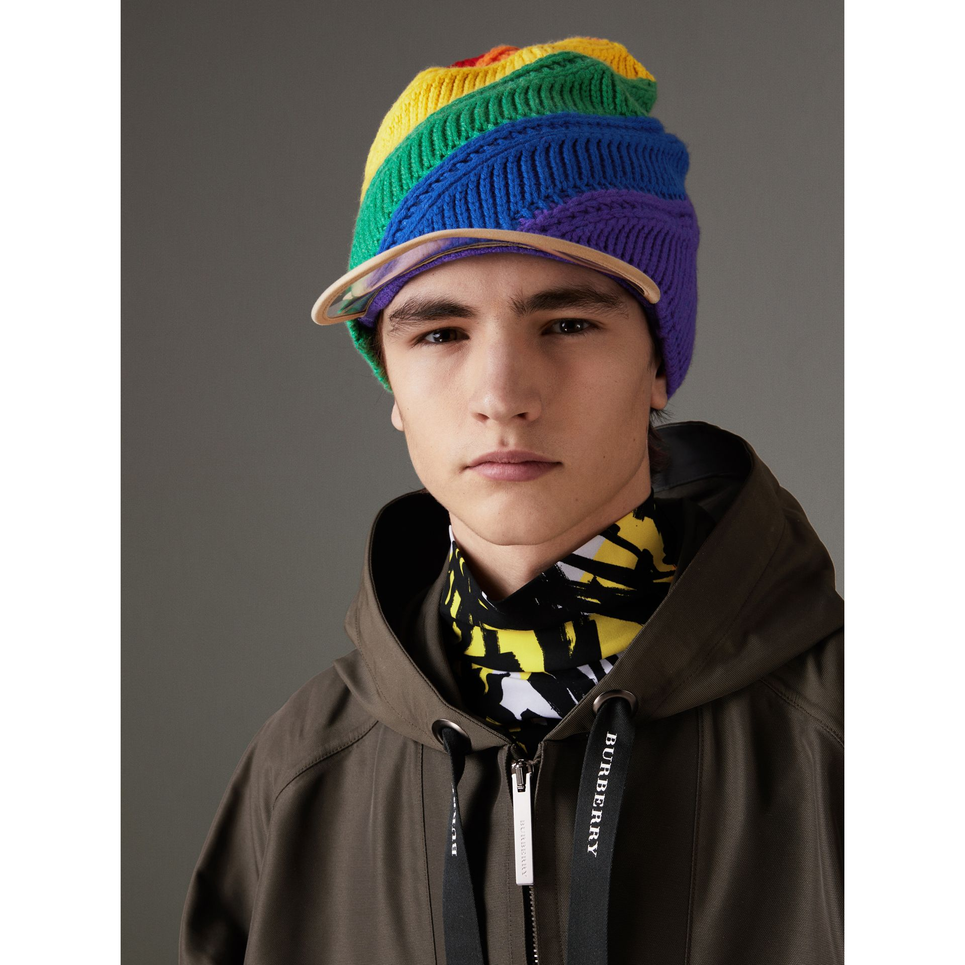 Rainbow Wool Cashmere Peaked Beanie | Burberry United Kingdom - gallery image 3