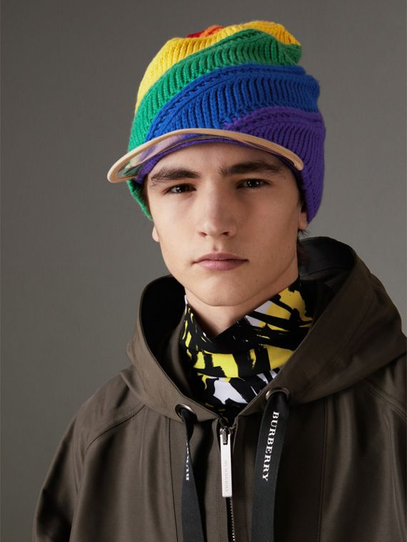 Rainbow Cashmere Peaked Beanie | Burberry United Kingdom - cell image 3