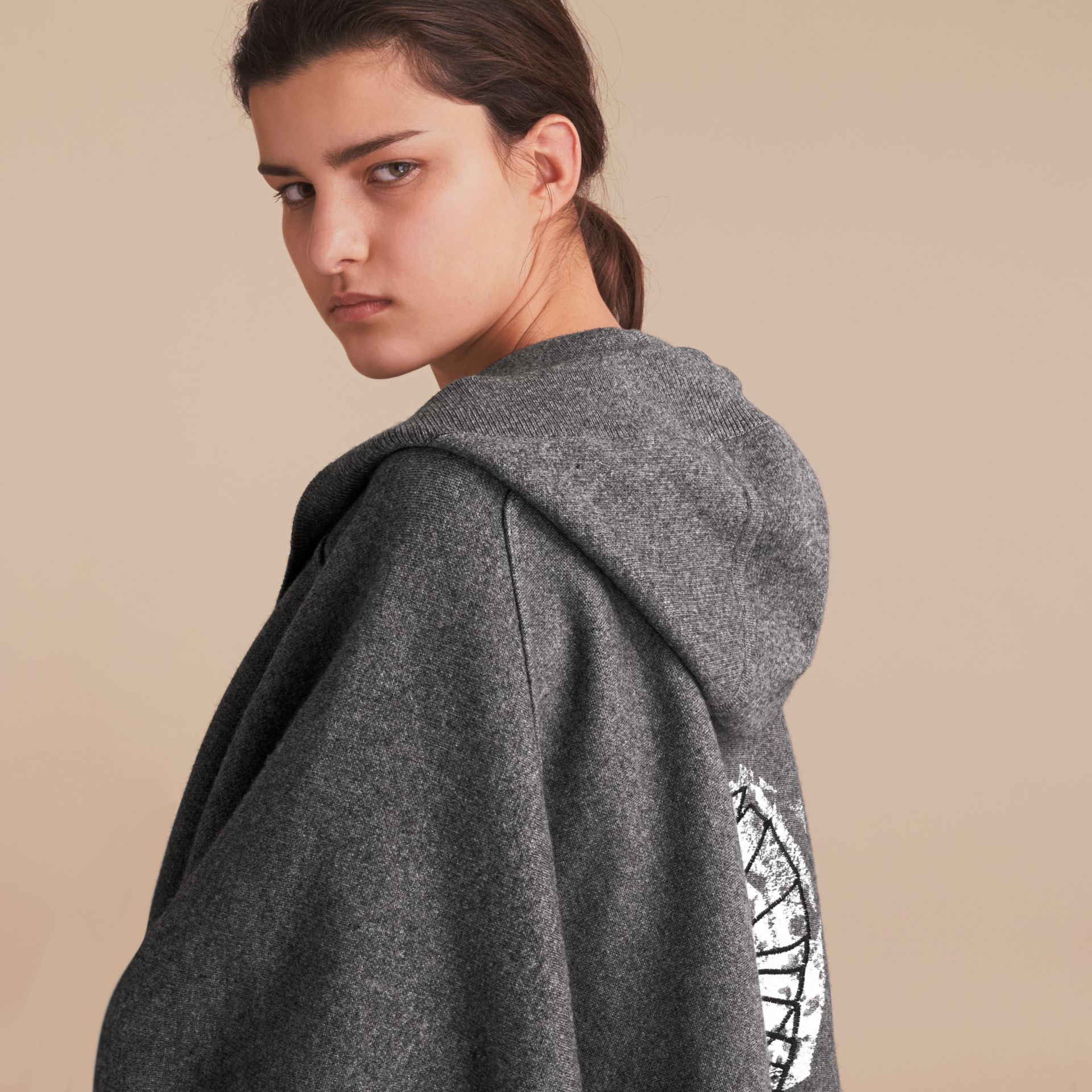 Pallas Helmet Motif Wool Cashmere Hooded Poncho in Mid Grey - Women | Burberry - gallery image 5