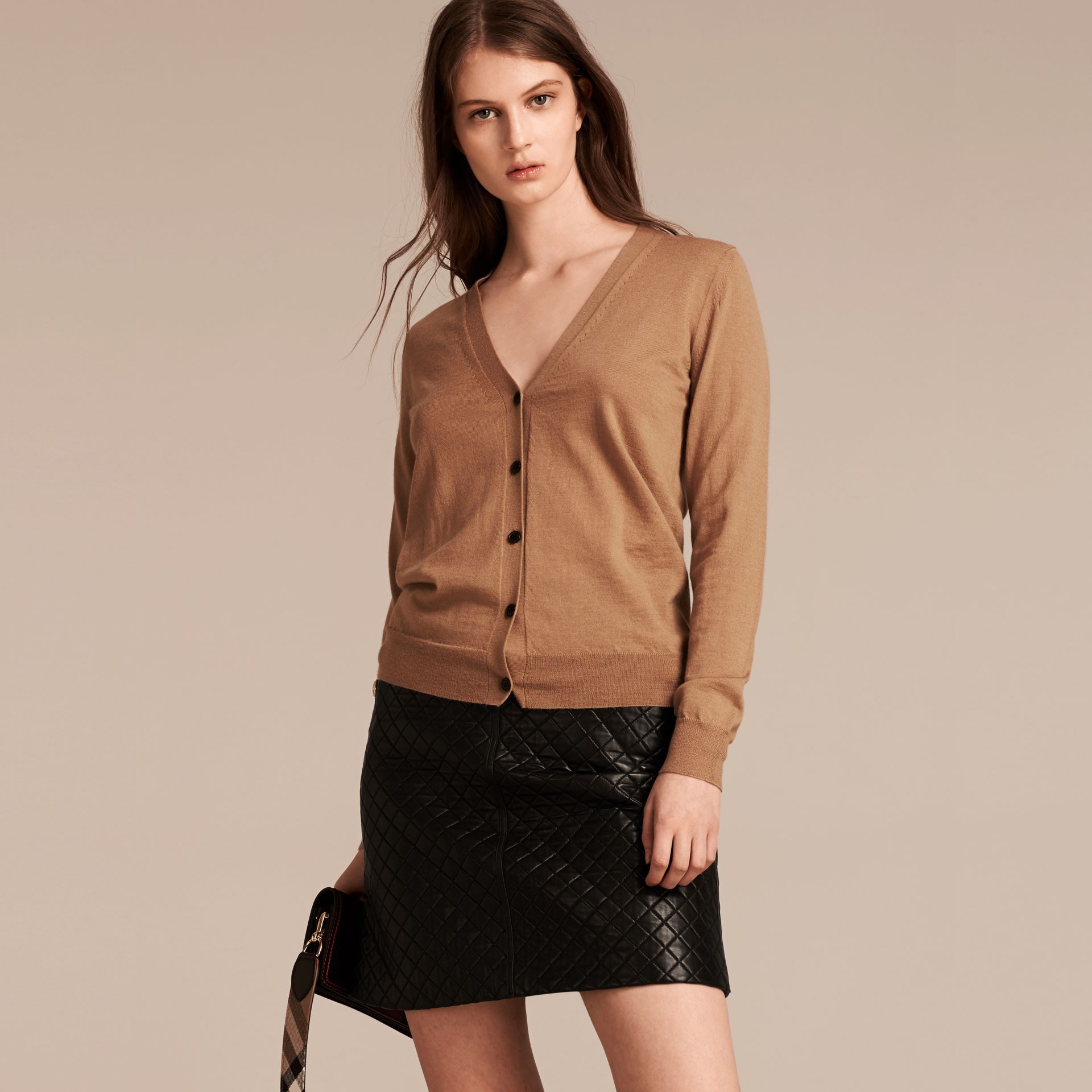 Check Detail Merino Wool Cardigan in Camel - gallery image 6