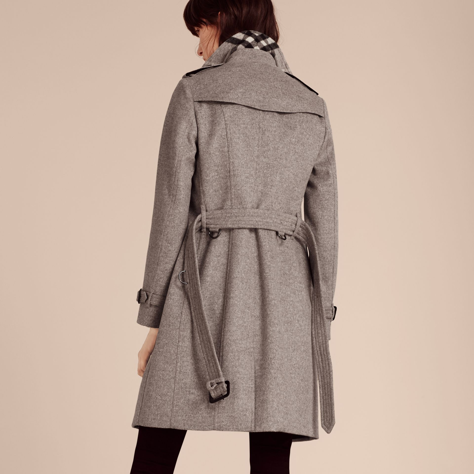 Pale grey melange Wool Cashmere Trench Coat with Fur Collar - gallery image 2