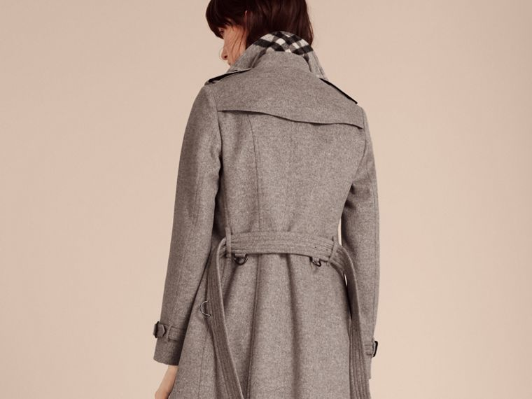 Pale grey melange Wool Cashmere Trench Coat with Fur Collar - cell image 1