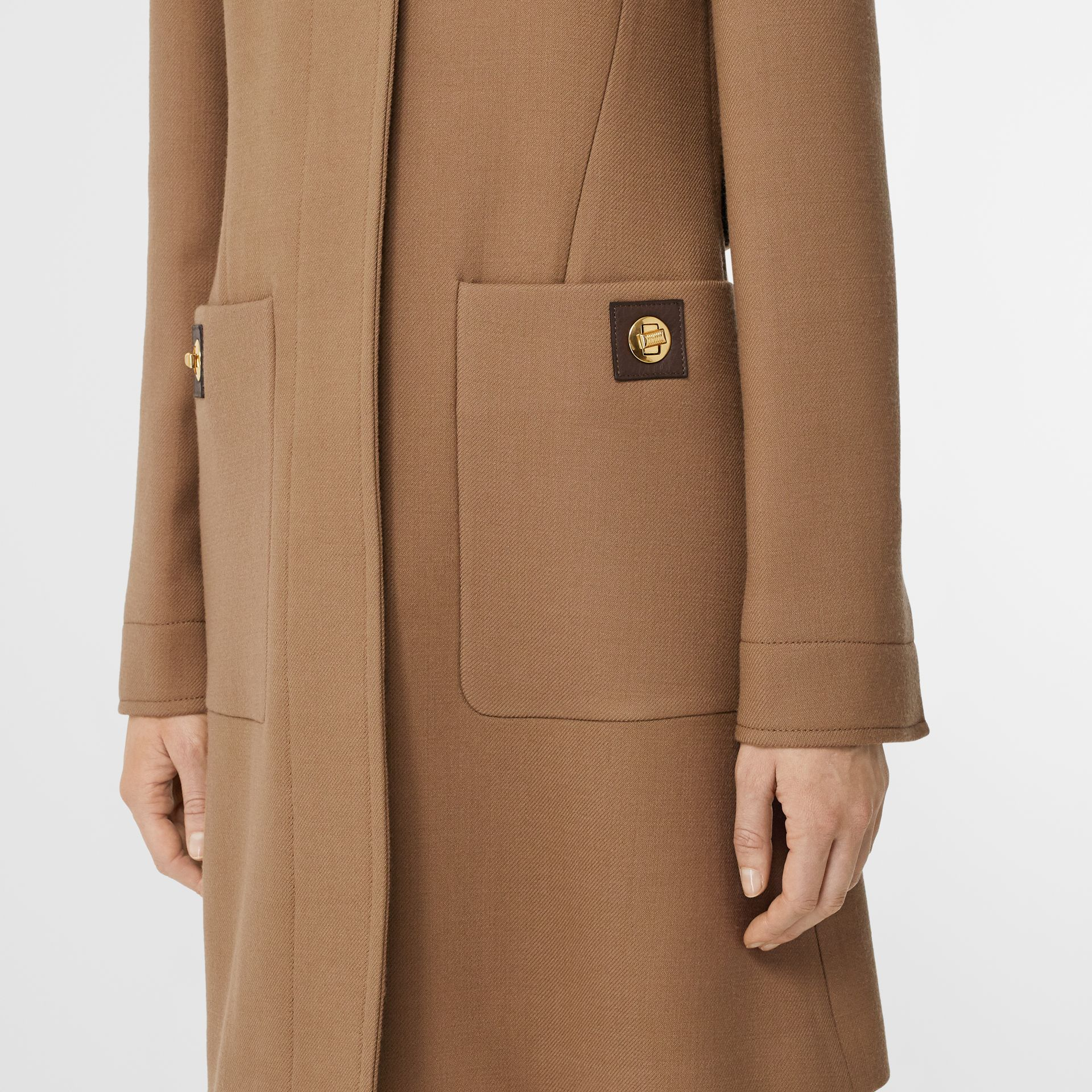 Double-faced Wool Tailored Coat in Fawn - Women | Burberry United Kingdom - gallery image 4