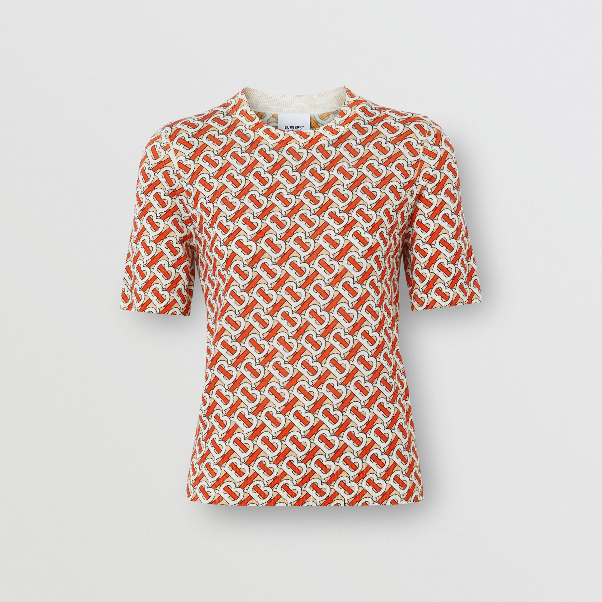 Monogram Print Merino Wool Top in Vermillion - Women | Burberry United Kingdom - gallery image 3