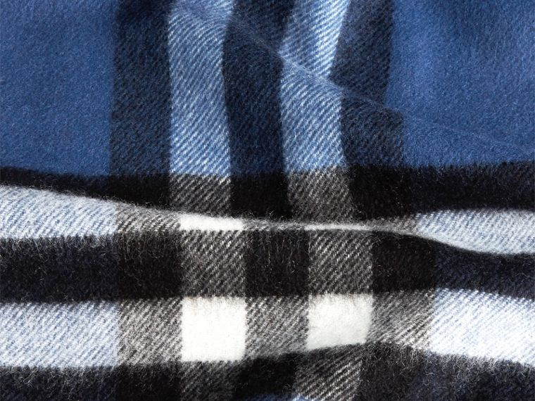 The Classic Cashmere Scarf in Check in Cadet Blue - cell image 4