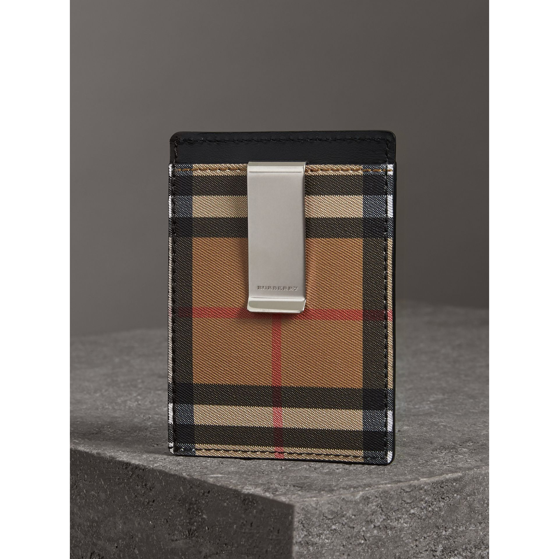 Vintage Check and Leather Money Clip Card Case in Black - Men | Burberry - gallery image 2
